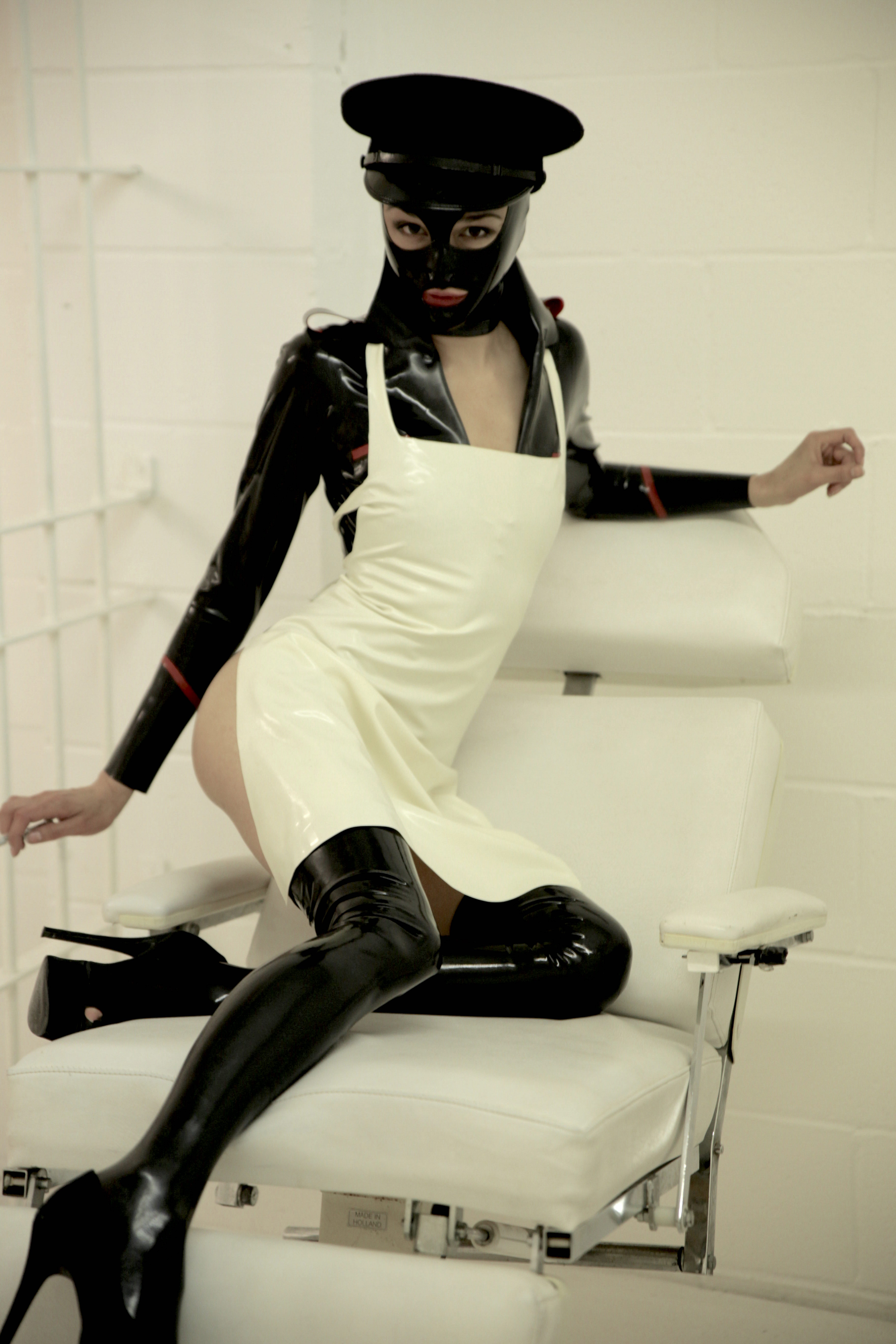 The leather domina urethral sounding and female slave 2